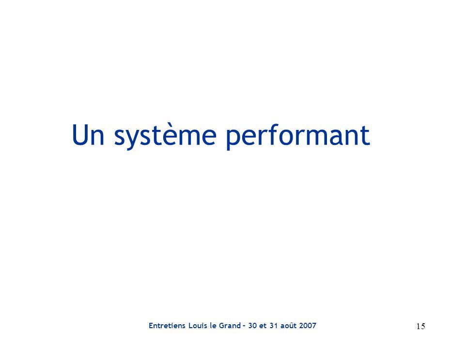 Entretiens Louis le Grand – 30 et 31 août 2007 15 Un système performant