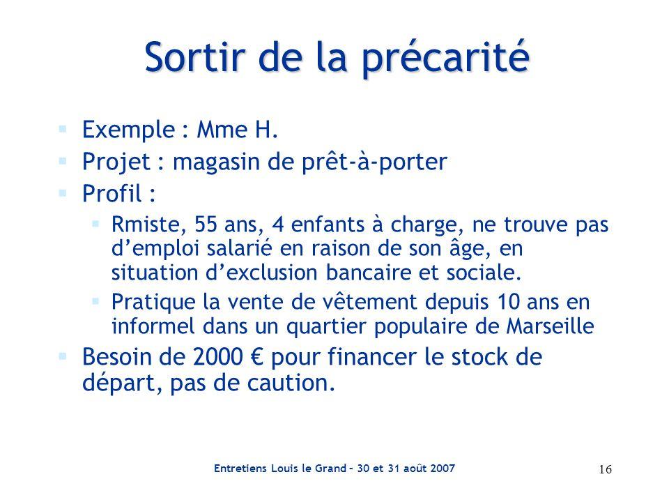 Entretiens Louis le Grand – 30 et 31 août 2007 16 Sortir de la précarité Exemple : Mme H. Projet : magasin de prêt-à-porter Profil : Rmiste, 55 ans, 4