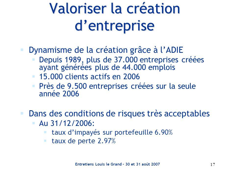 Entretiens Louis le Grand – 30 et 31 août 2007 17 Valoriser la création dentreprise Dynamisme de la création grâce à lADIE Depuis 1989, plus de 37.000