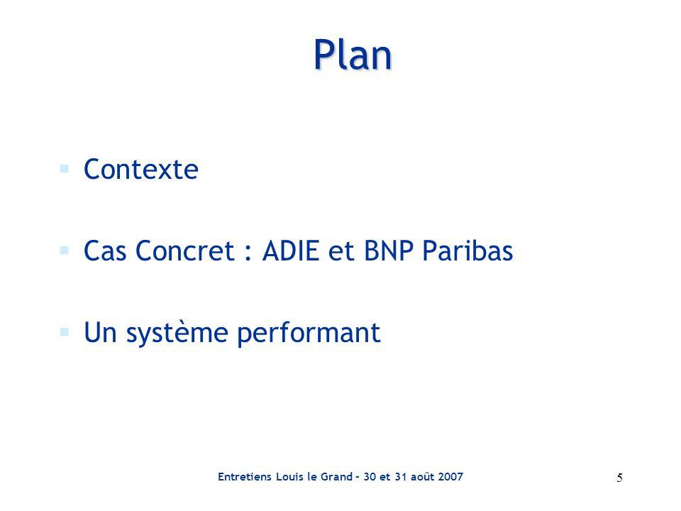 Entretiens Louis le Grand – 30 et 31 août 2007 5 Plan Contexte Cas Concret : ADIE et BNP Paribas Un système performant