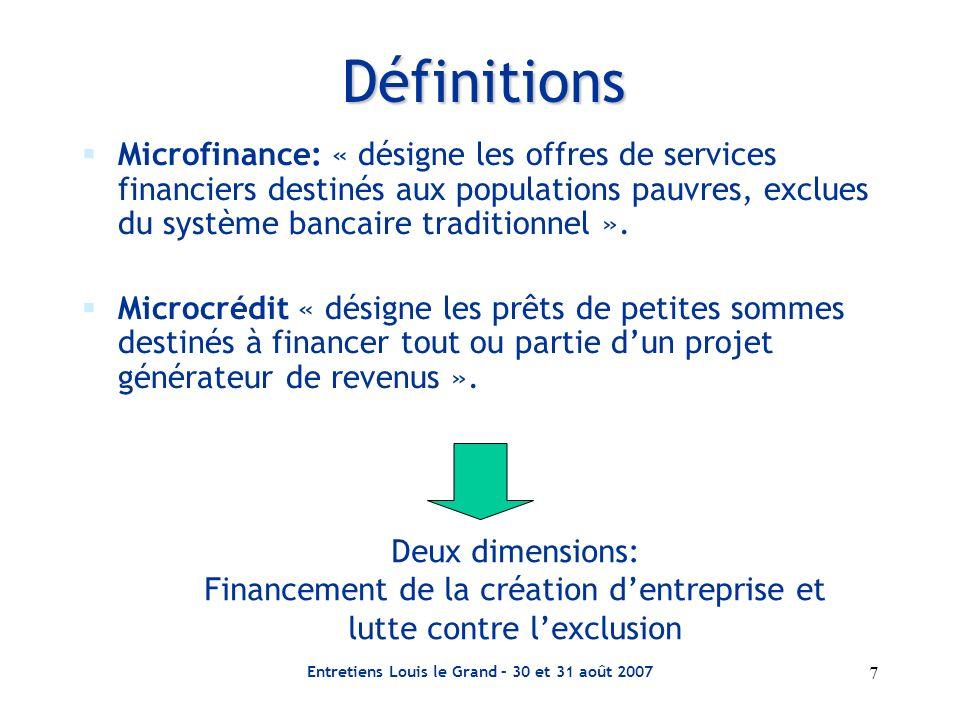 Entretiens Louis le Grand – 30 et 31 août 2007 7 Définitions Microfinance: « désigne les offres de services financiers destinés aux populations pauvre