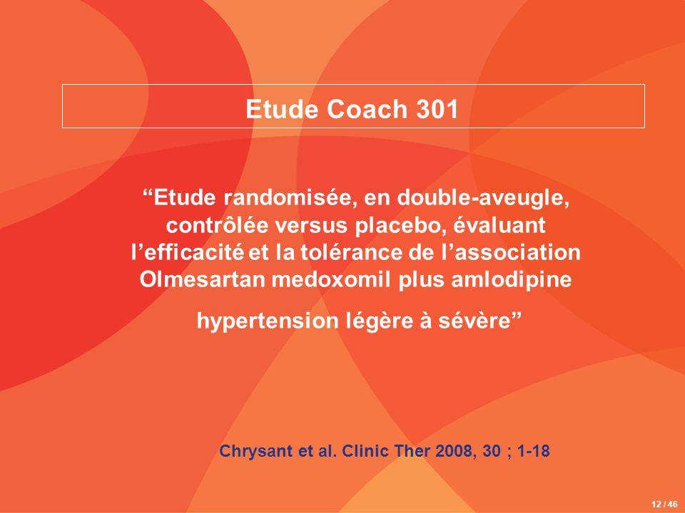 12 / 46 Etude Coach 301 Etude randomisée, en double-aveugle, contrôlée versus placebo, évaluant lefficacité et la tolérance de lassociation Olmesartan