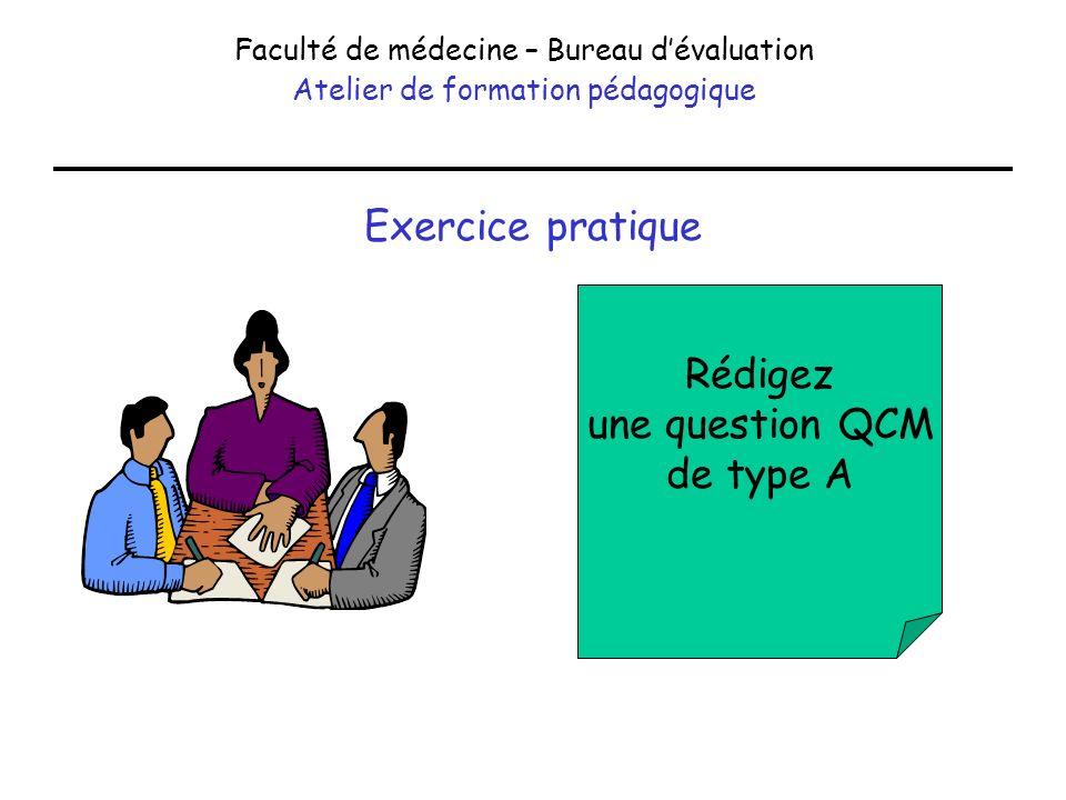Exercice pratique Faculté de médecine – Bureau dévaluation Atelier de formation pédagogique Rédigez une question QCM de type A