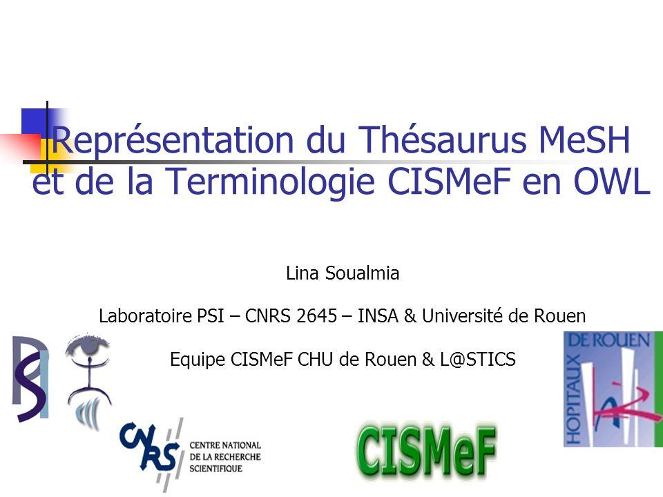 Représentation du Thésaurus MeSH et de la Terminologie CISMeF en OWL Lina Soualmia Laboratoire PSI – CNRS 2645 – INSA & Université de Rouen Equipe CISMeF CHU de Rouen & L@STICS