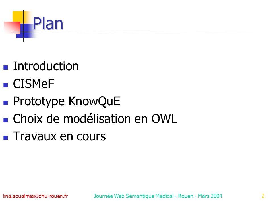 lina.soualmia@chu-rouen.fr Journée Web Sémantique Médical - Rouen - Mars 20042 Plan Introduction CISMeF Prototype KnowQuE Choix de modélisation en OWL Travaux en cours