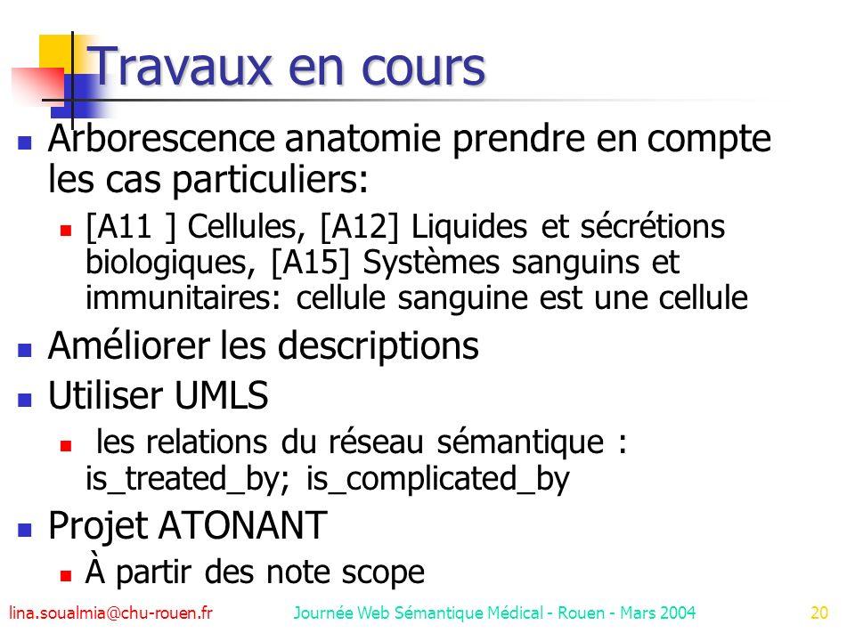 lina.soualmia@chu-rouen.fr Journée Web Sémantique Médical - Rouen - Mars 200420 Travaux en cours Arborescence anatomie prendre en compte les cas particuliers: [A11 ] Cellules, [A12] Liquides et sécrétions biologiques, [A15] Systèmes sanguins et immunitaires: cellule sanguine est une cellule Améliorer les descriptions Utiliser UMLS les relations du réseau sémantique : is_treated_by; is_complicated_by Projet ATONANT À partir des note scope