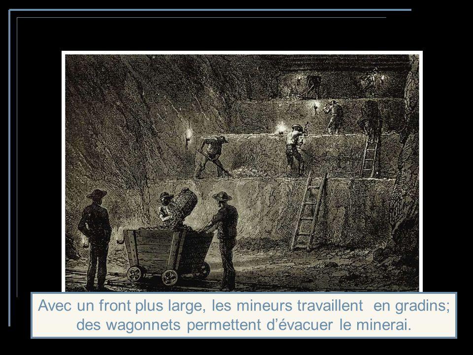 Labattage par le feu est également utilisé ainsi que par lexplosif poudre noire, un peu plus tard par la dynamite.