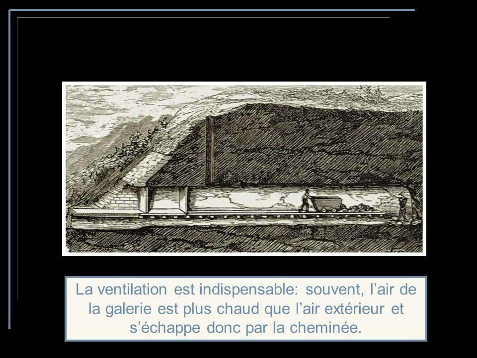 Avec un front plus large, les mineurs travaillent en gradins; des wagonnets permettent dévacuer le minerai.