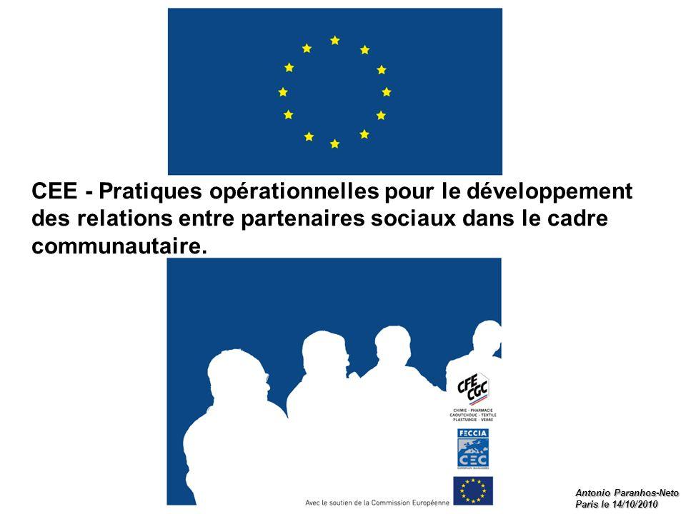 CEE - Pratiques opérationnelles pour le développement des relations entre partenaires sociaux dans le cadre communautaire.