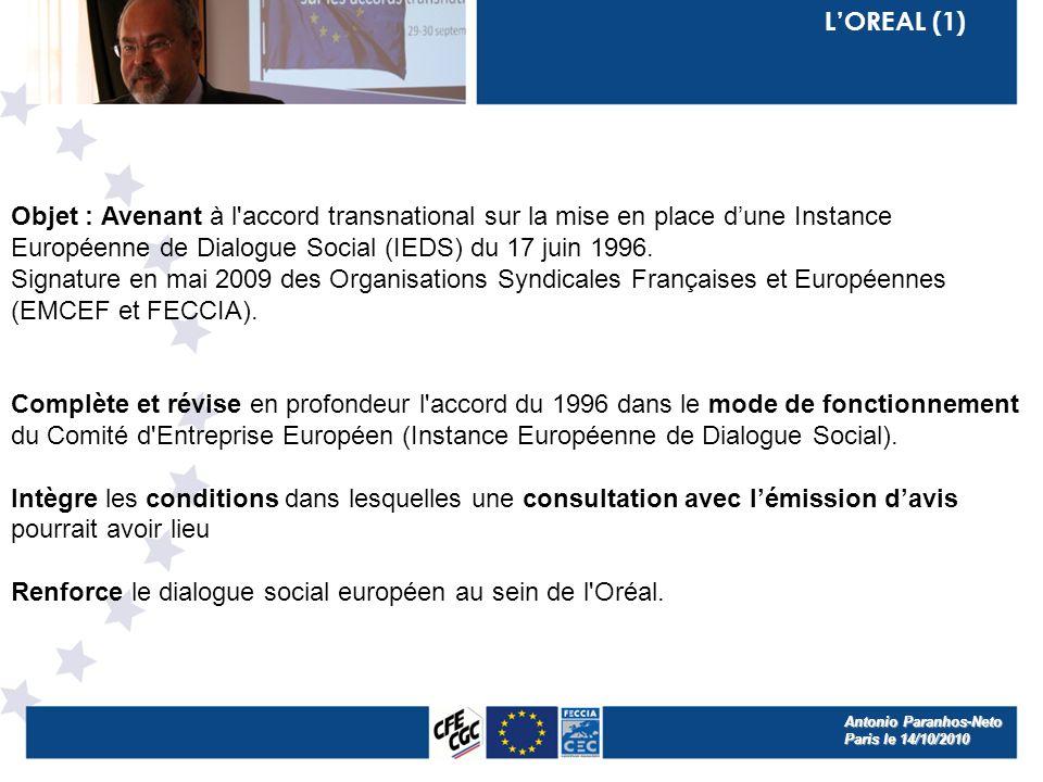 LOREAL (1) Objet : Avenant à l accord transnational sur la mise en place dune Instance Européenne de Dialogue Social (IEDS) du 17 juin 1996.