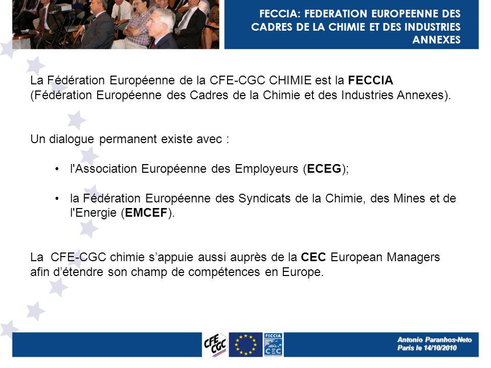 FECCIA: FEDERATION EUROPEENNE DES CADRES DE LA CHIMIE ET DES INDUSTRIES ANNEXES La Fédération Européenne de la CFE-CGC CHIMIE est la FECCIA (Fédération Européenne des Cadres de la Chimie et des Industries Annexes).