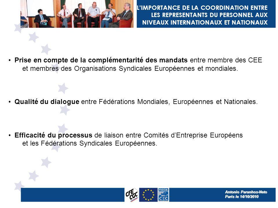 LIMPORTANCE DE LA COORDINATION ENTRE LES REPRESENTANTS DU PERSONNEL AUX NIVEAUX INTERNATIONAUX ET NATIONAUX Prise en compte de la complémentarité des mandats entre membre des CEE et membres des Organisations Syndicales Européennes et mondiales.