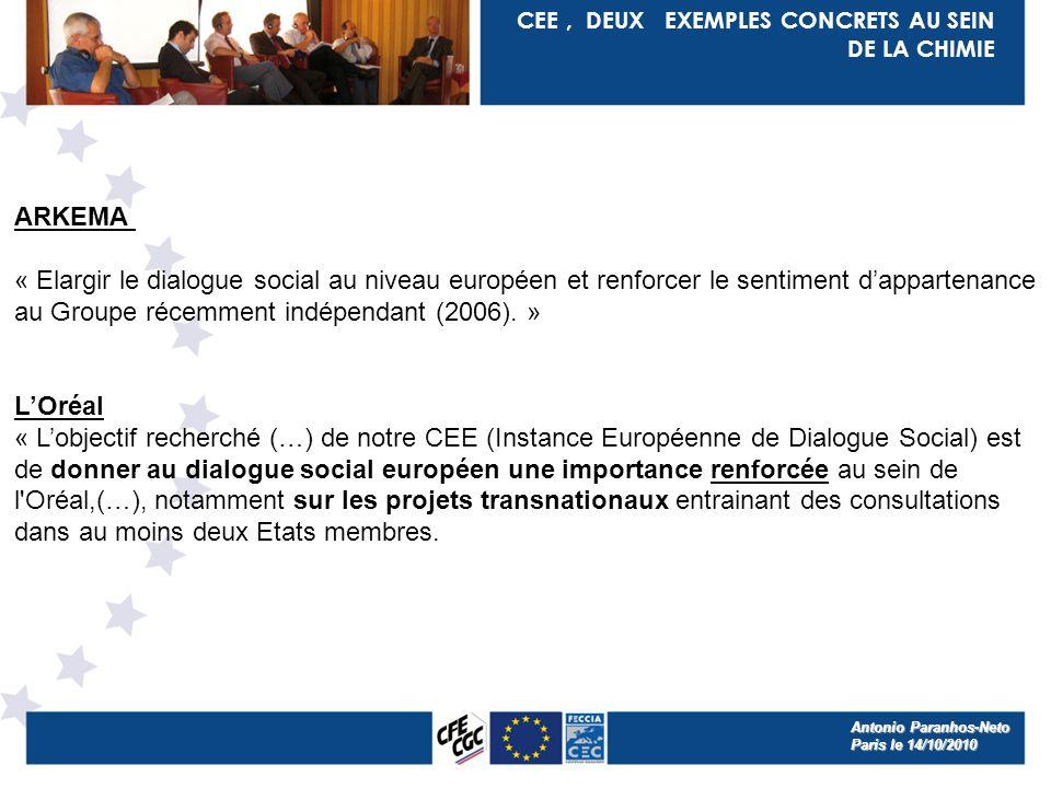 CEE, DEUX EXEMPLES CONCRETS AU SEIN DE LA CHIMIE ARKEMA « Elargir le dialogue social au niveau européen et renforcer le sentiment dappartenance au Groupe récemment indépendant (2006).