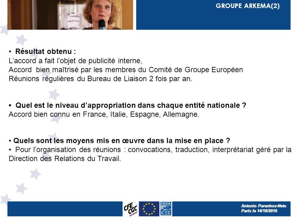 GROUPE ARKEMA(2) Résultat obtenu : Laccord a fait lobjet de publicité interne, Accord bien maîtrisé par les membres du Comité de Groupe Européen Réunions régulières du Bureau de Liaison 2 fois par an.