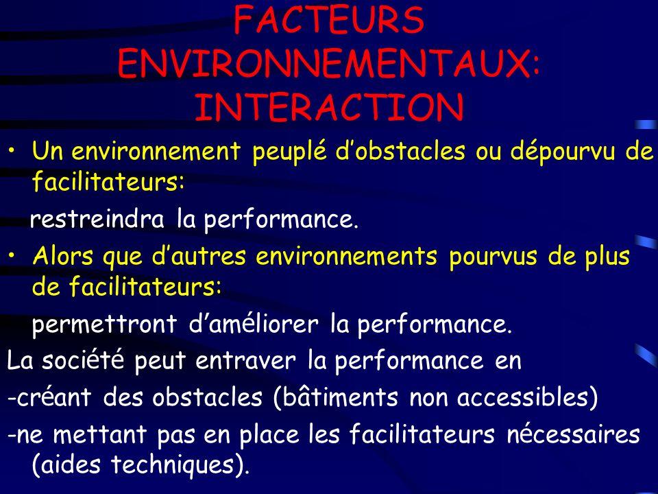 FACTEURS ENVIRONNEMENTAUX: INTERACTION Un environnement peuplé dobstacles ou dépourvu de facilitateurs: restreindra la performance. Alors que dautres