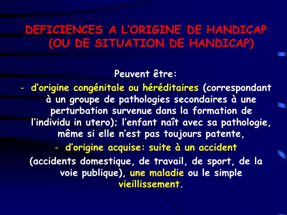 DEFICIENCES A LORIGINE DE HANDICAP (OU DE SITUATION DE HANDICAP) Peuvent être: -dorigine congénitale ou héréditaires (correspondant à un groupe de pat
