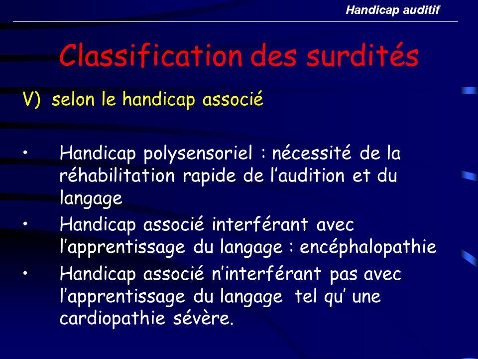 Classification des surdités V) selon le handicap associé Handicap polysensoriel : nécessité de la réhabilitation rapide de laudition et du langage Han