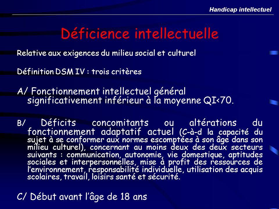 Déficience intellectuelle Relative aux exigences du milieu social et culturel Définition DSM IV : trois critères A/ Fonctionnement intellectuel généra