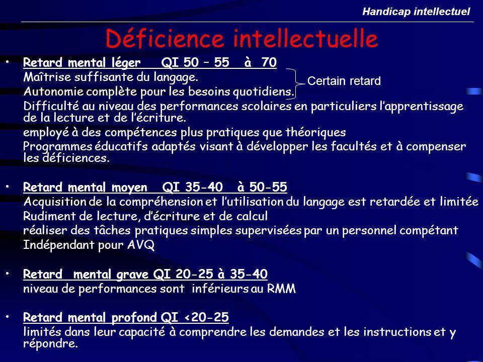 Déficience intellectuelle Retard mental léger QI 50 – 55 à 70 Maîtrise suffisante du langage. Autonomie complète pour les besoins quotidiens. Difficul