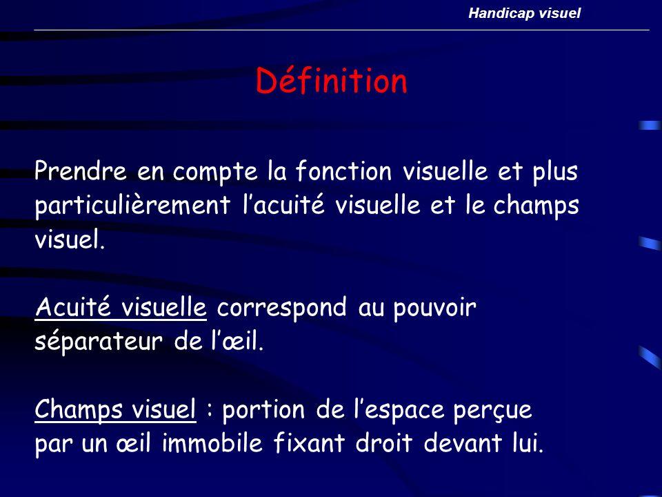 Définition Prendre en compte la fonction visuelle et plus particulièrement lacuité visuelle et le champs visuel. Acuité visuelle correspond au pouvoir
