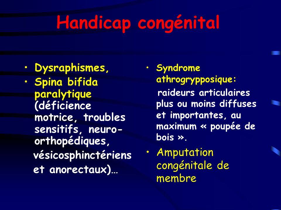 Handicap congénital Dysraphismes, Spina bifida paralytique (déficience motrice, troubles sensitifs, neuro- orthopédiques, vésicosphinctériens et anore