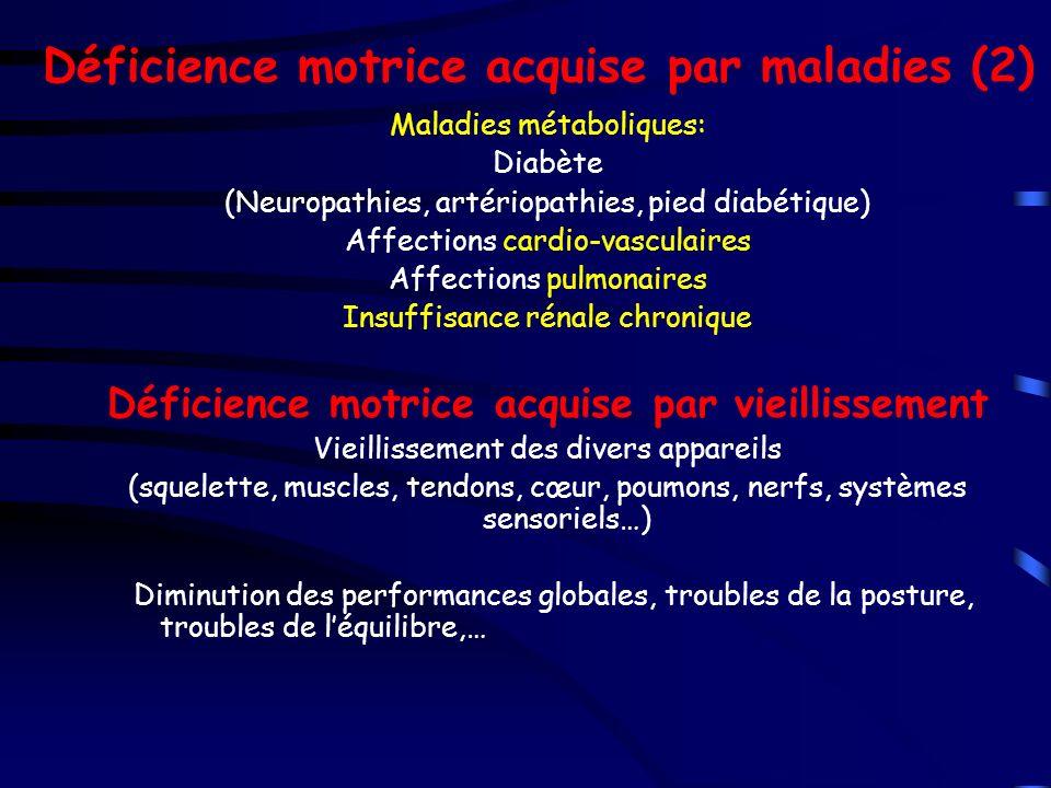 Déficience motrice acquise par maladies (2) Maladies métaboliques: Diabète (Neuropathies, artériopathies, pied diabétique) Affections cardio-vasculair