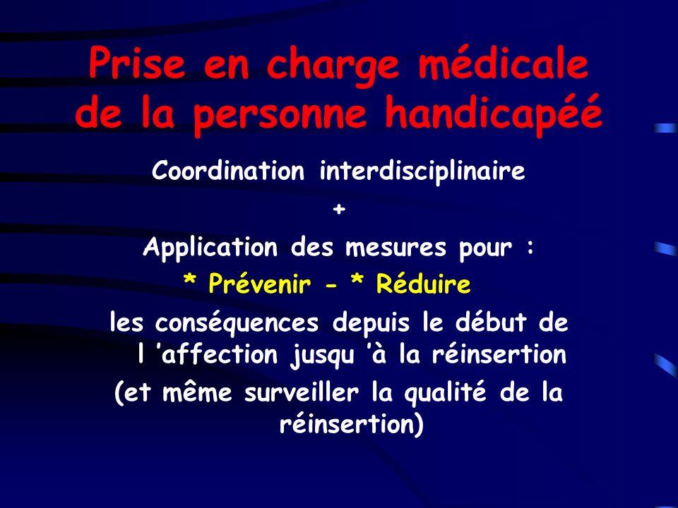 Prise en charge médicale de la personne handicapéé Coordination interdisciplinaire + Application des mesures pour : * Prévenir - * Réduire les conséqu