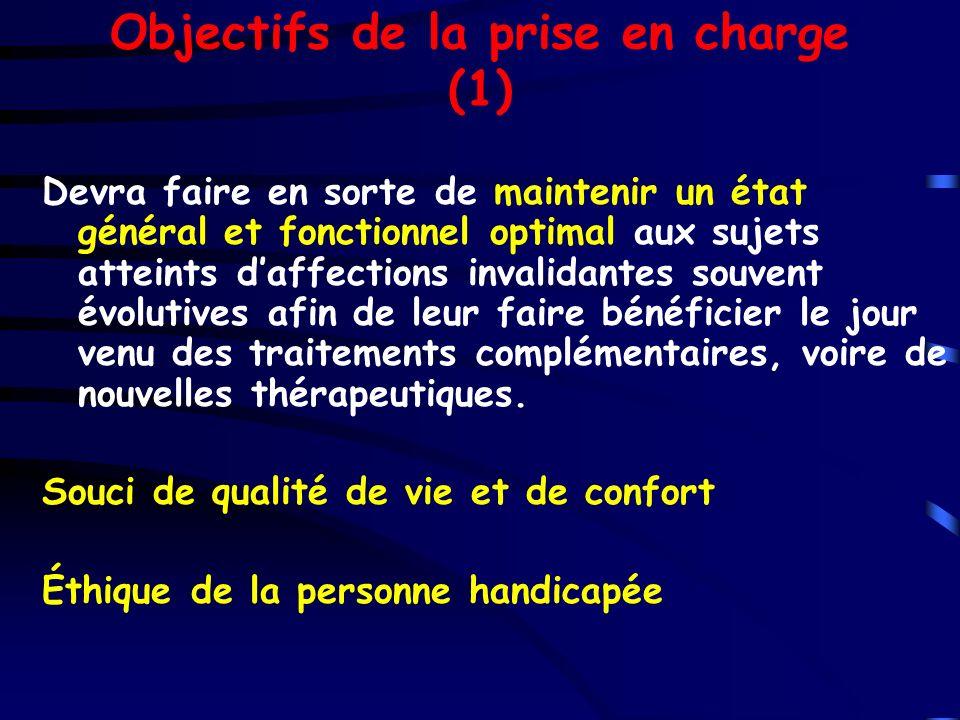 Objectifs de la prise en charge (1) Devra faire en sorte de maintenir un état général et fonctionnel optimal aux sujets atteints daffections invalidan