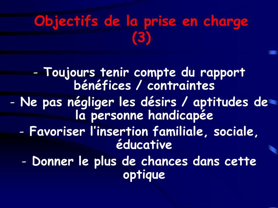 Objectifs de la prise en charge (3) -Toujours tenir compte du rapport bénéfices / contraintes -Ne pas négliger les désirs / aptitudes de la personne h