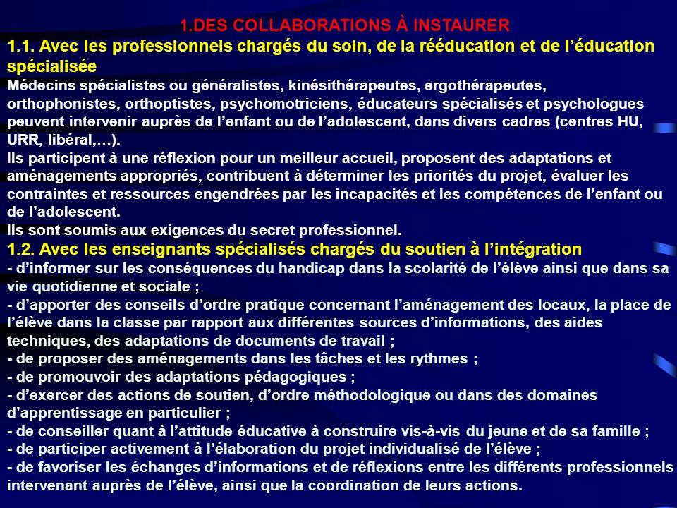 1.DES COLLABORATIONS À INSTAURER 1.1. Avec les professionnels chargés du soin, de la rééducation et de léducation spécialisée Médecins spécialistes ou