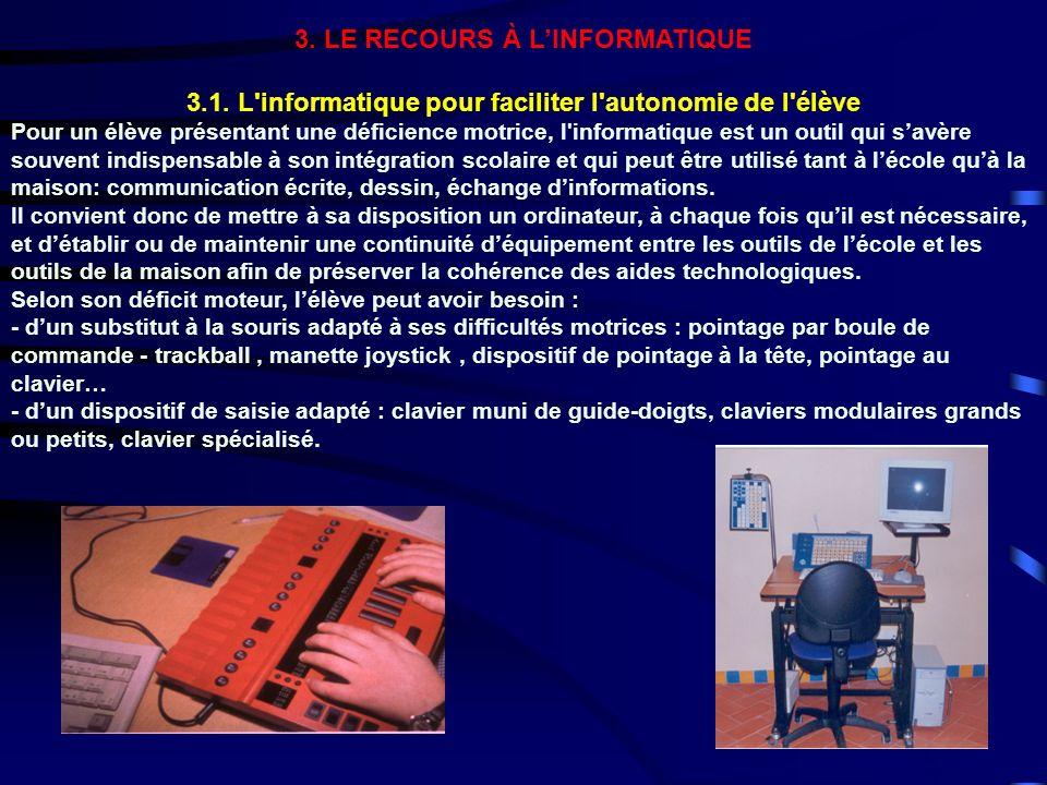 3. LE RECOURS À LINFORMATIQUE 3.1. L'informatique pour faciliter l'autonomie de l'élève Pour un élève présentant une déficience motrice, l'informatiqu