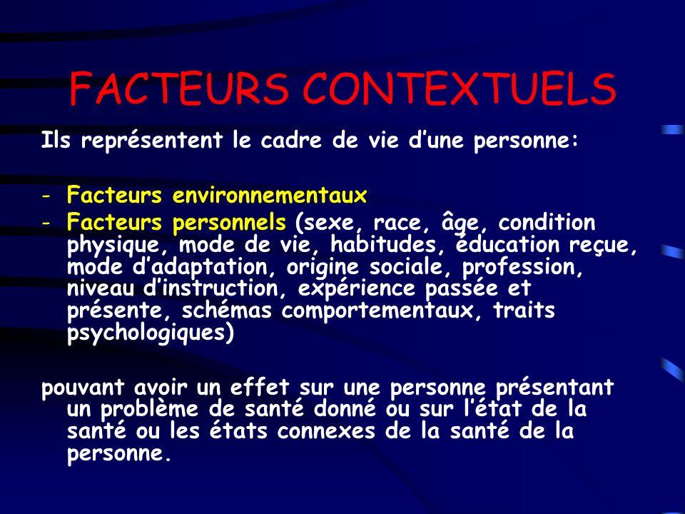 FACTEURS CONTEXTUELS Ils représentent le cadre de vie dune personne: -Facteurs environnementaux -Facteurs personnels (sexe, race, âge, condition physi