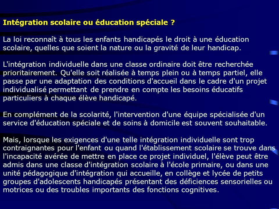 Intégration scolaire ou éducation spéciale ? La loi reconnaît à tous les enfants handicapés le droit à une éducation scolaire, quelles que soient la n