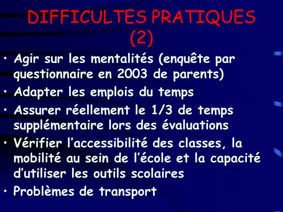 DIFFICULTES PRATIQUES (2) Agir sur les mentalités (enquête par questionnaire en 2003 de parents) Adapter les emplois du temps Assurer réellement le 1/