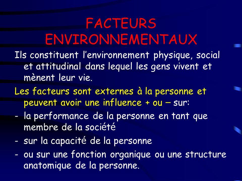 FACTEURS ENVIRONNEMENTAUX Ils constituent lenvironnement physique, social et attitudinal dans lequel les gens vivent et mènent leur vie. Les facteurs