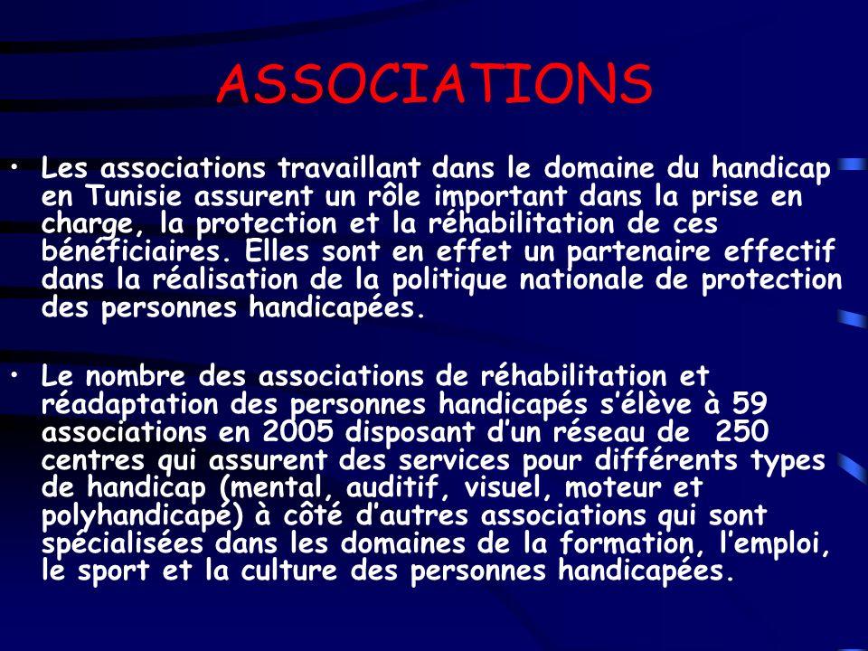 ASSOCIATIONS Les associations travaillant dans le domaine du handicap en Tunisie assurent un rôle important dans la prise en charge, la protection et