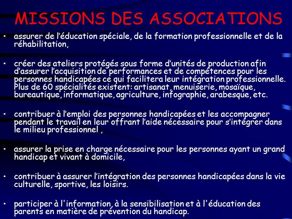 MISSIONS DES ASSOCIATIONS assurer de léducation spéciale, de la formation professionnelle et de la réhabilitation, créer des ateliers protégés sous fo