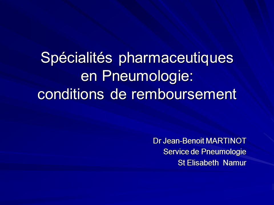 Spécialités pharmaceutiques en Pneumologie: conditions de remboursement Dr Jean-Benoit MARTINOT Service de Pneumologie St Elisabeth Namur