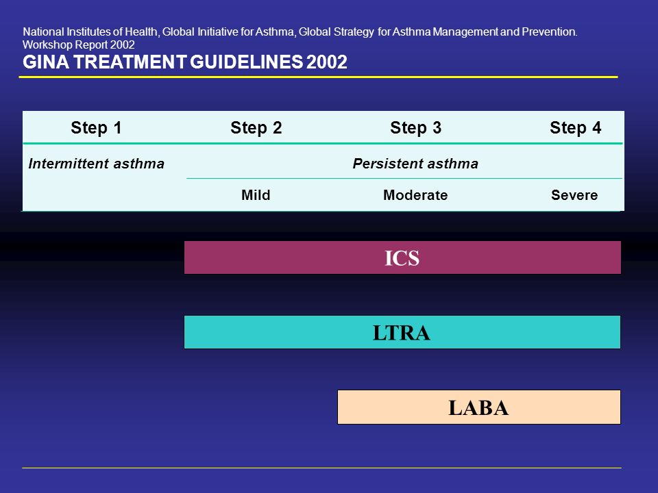 National Institutes of Health, Global Initiative for Asthma, Global Strategy for Asthma Management and Prevention. Workshop Report 2002 GINA TREATMENT