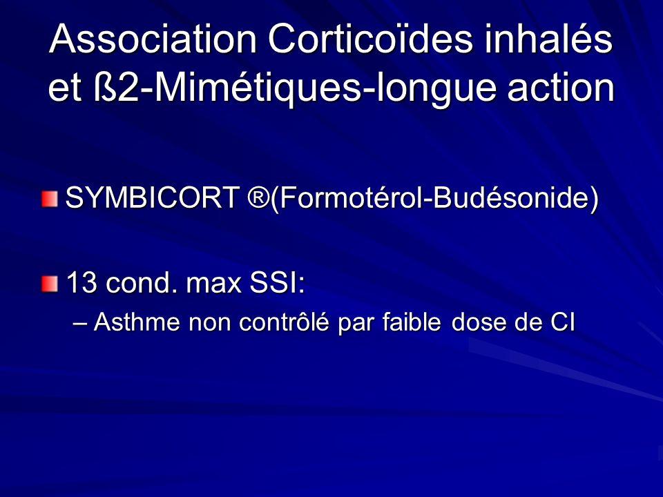 Association Corticoïdes inhalés et ß2-Mimétiques-longue action SYMBICORT ®(Formotérol-Budésonide) 13 cond. max SSI: –Asthme non contrôlé par faible do