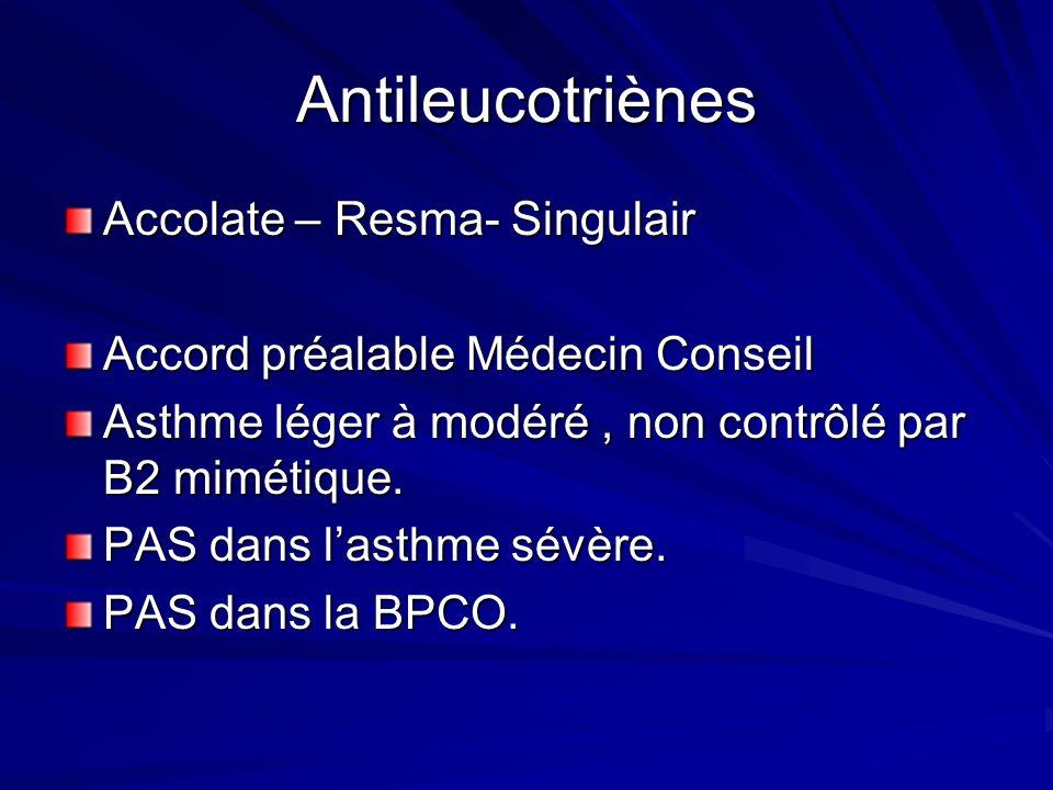 Antileucotriènes Accolate – Resma- Singulair Accord préalable Médecin Conseil Asthme léger à modéré, non contrôlé par B2 mimétique. PAS dans lasthme s