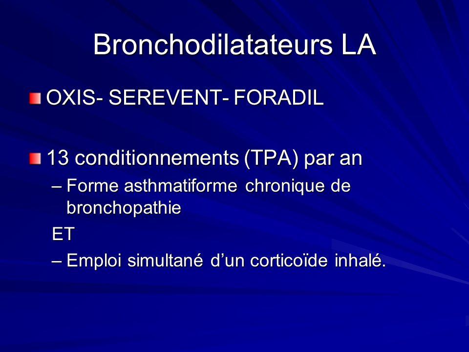 Bronchodilatateurs LA OXIS- SEREVENT- FORADIL 13 conditionnements (TPA) par an –Forme asthmatiforme chronique de bronchopathie ET –Emploi simultané du