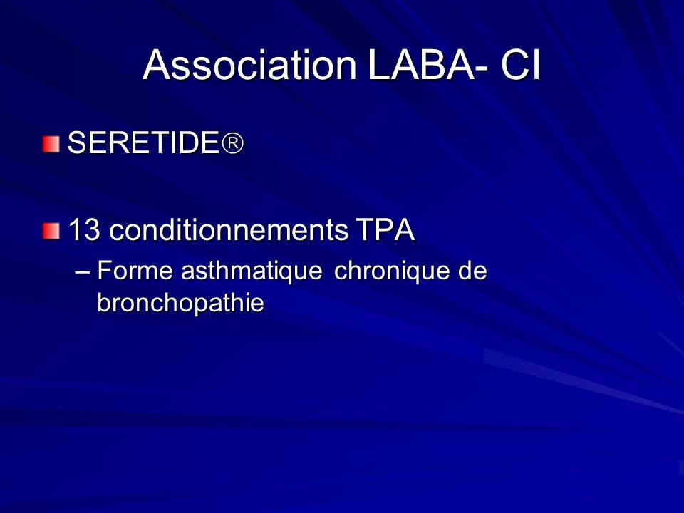 Association LABA- CI SERETIDE SERETIDE 13 conditionnements TPA –Forme asthmatique chronique de bronchopathie
