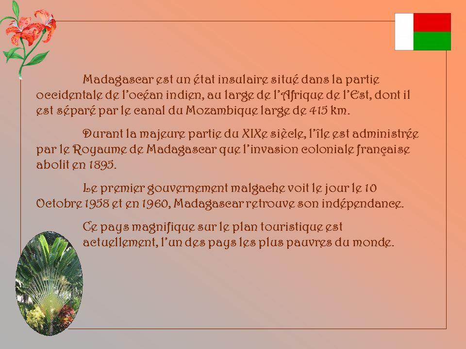 Capitale : Antananarivo. Superficie : 587 040 Km2. Population : 20 042 551 hab. Langues officielles : Malgache, Français, anglais. Monnaie : Ariary.