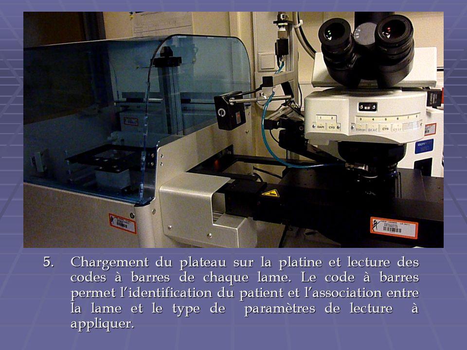 5.Chargement du plateau sur la platine et lecture des codes à barres de chaque lame. Le code à barres permet lidentification du patient et lassociatio
