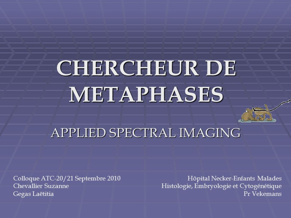 CHERCHEUR DE METAPHASES APPLIED SPECTRAL IMAGING Colloque ATC-20/21 Septembre 2010 Chevallier Suzanne Gegas Laëtitia Hôpital Necker-Enfants Malades Hi