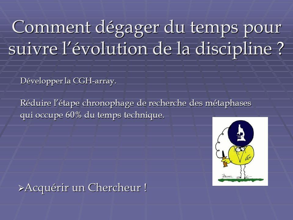 Comment dégager du temps pour suivre lévolution de la discipline ? Développer la CGH-array. Développer la CGH-array. Réduire létape chronophage de rec