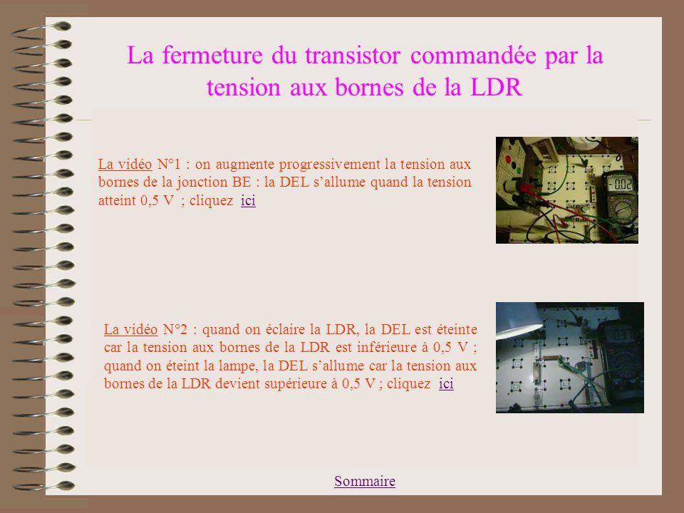 Sommaire La fermeture du transistor commandée par la tension aux bornes de la LDR La jonction BE du transistor se comporte comme une diode, de tension seuil égale à environ 0,5 V : si U BE < 0,5 V, la jonction ne laisse pas passer le courant : le transistor se comporte comme un interrupteur ouvert et la DEL ne sallume pas.