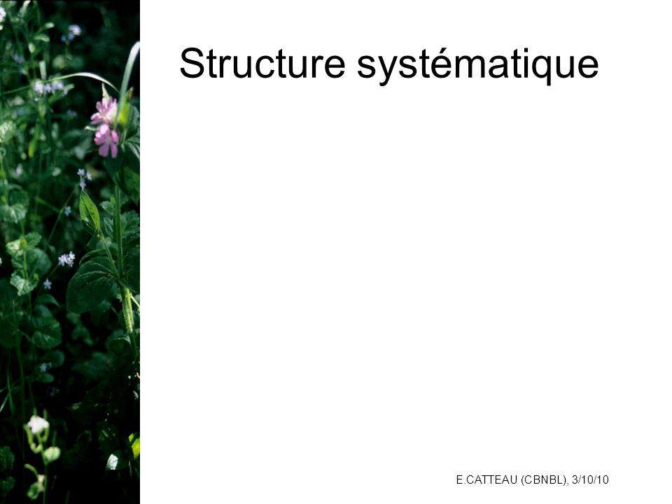 E.CATTEAU (CBNBL), 3/10/10 Structure systématique