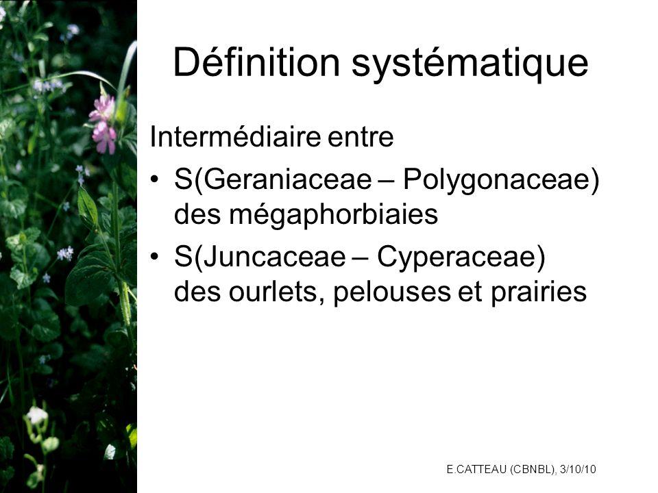 E.CATTEAU (CBNBL), 3/10/10 Définition systématique Intermédiaire entre S(Geraniaceae – Polygonaceae) des mégaphorbiaies S(Juncaceae – Cyperaceae) des